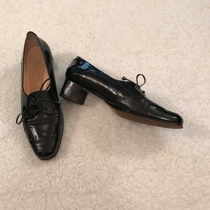 Lutomirsky patent and leather oxfords